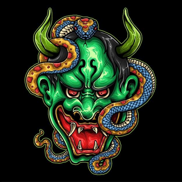 Máscara demoníaca japonesa Vetor Premium