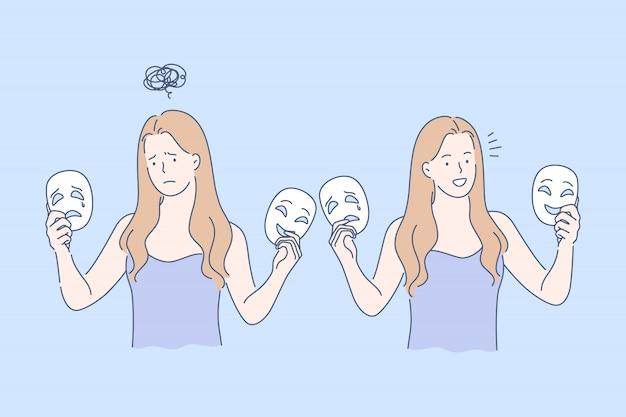 Máscara, emoções opostas definir conceito Vetor Premium
