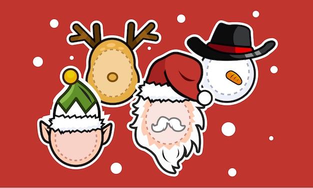 Máscara facial de natal santa, elfo, boneco de neve, rena Vetor Premium
