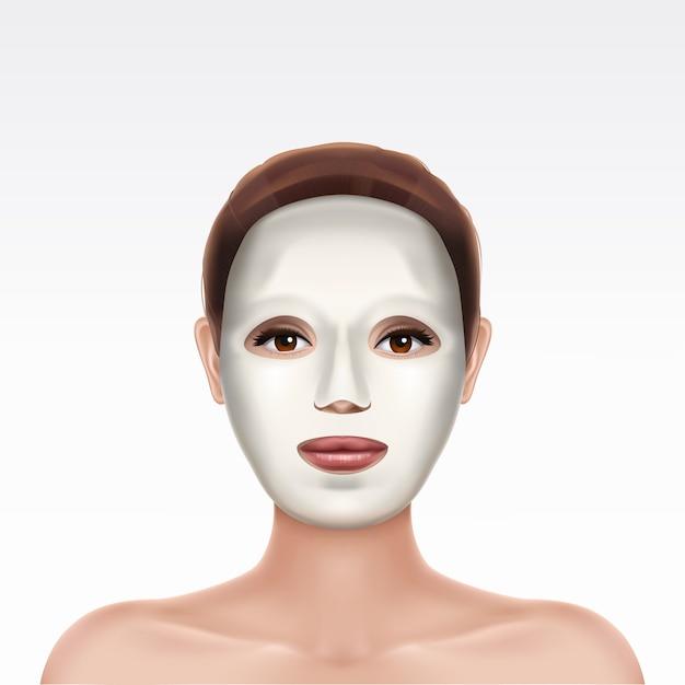 Máscara facial hidratando cosmética branca da folha na cara da menina bonita nova no fundo branco. Vetor grátis