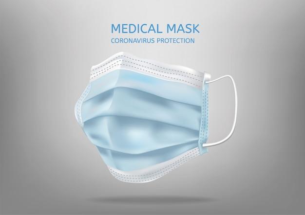 Máscara facial médica realista. detalhes 3d máscara médica. ilustração Vetor Premium