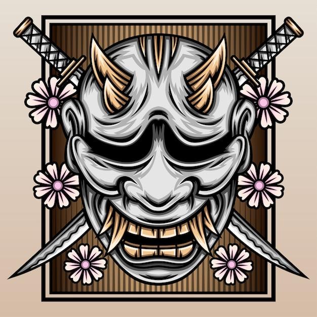 Máscara hannya com a katana de samurai. Vetor Premium