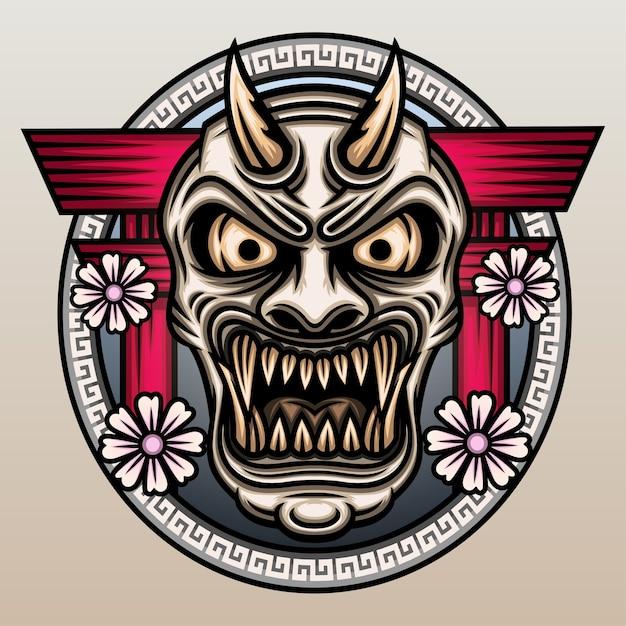 Máscara hannya na frente do portão torii. Vetor Premium