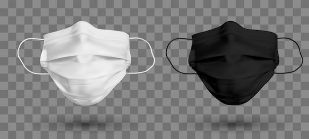 Máscara protetora em preto e branco ou máscara médica. proteger o coronavírus e a infecção. máscara médica isolada em fundo transparente. ilustração realista Vetor Premium