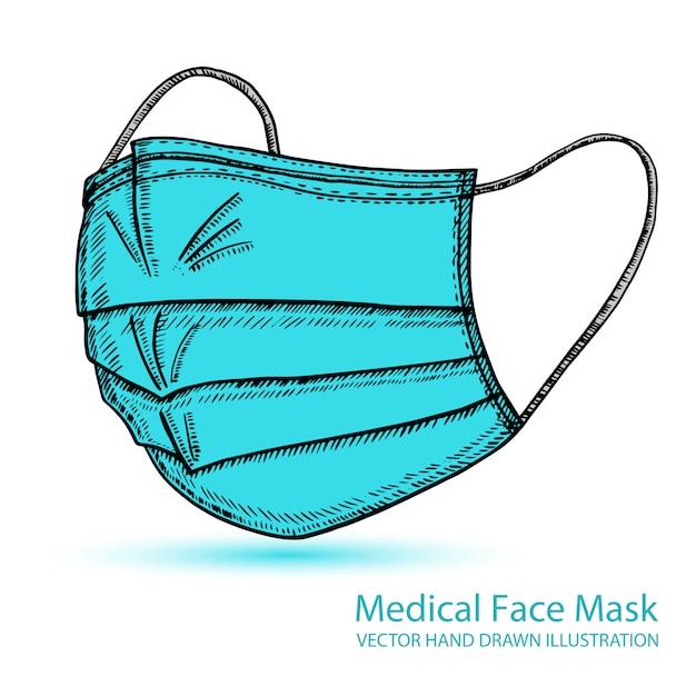 Máscara respiratória médica de respiração. hospital ou poluição protegem o mascaramento facial. vetorial mão ilustrações desenhadas. Vetor Premium