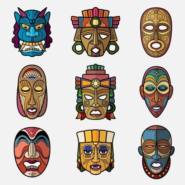 Máscara tribal de voodoo artesanato africano e inca sul-americano cultura totem símbolos set vector Vetor Premium