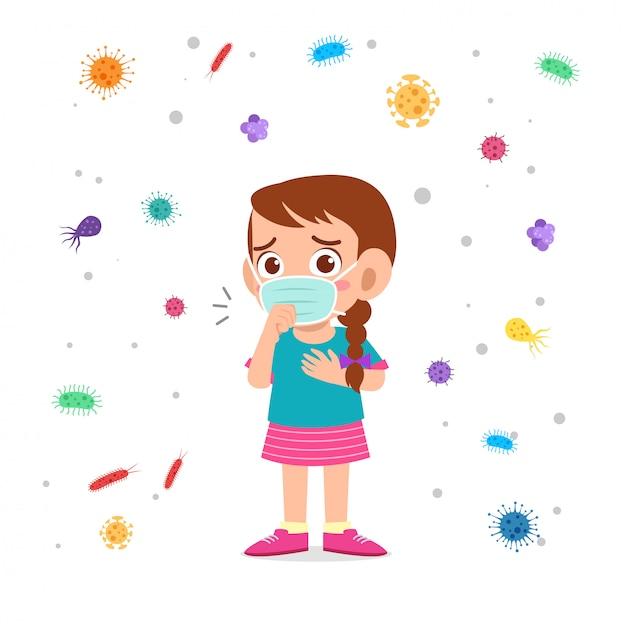 Mascarado triste do uso da tosse da menina da criança bonito Vetor Premium