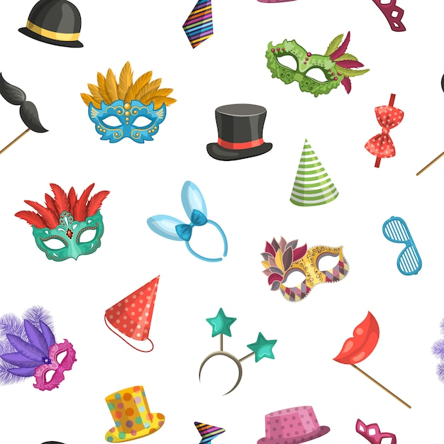 Máscaras coloridas e padrão de acessórios de festa dos desenhos animados Vetor Premium