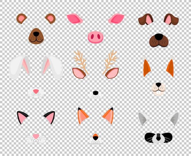 Máscaras de animais definidas em transparentes Vetor Premium