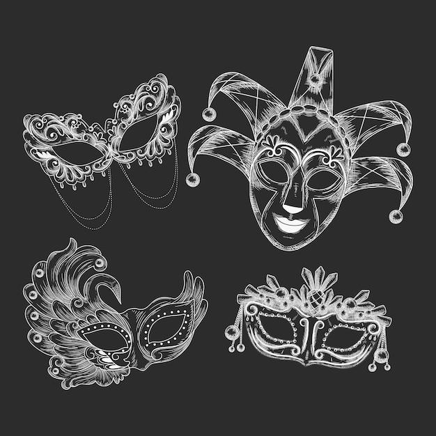 Máscaras de carnaval veneziano desenhadas à mão realistas Vetor grátis