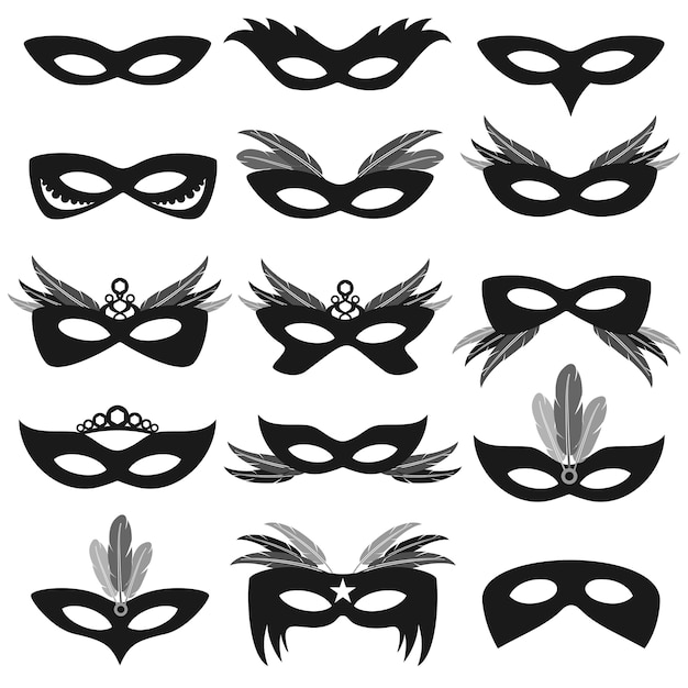 Máscaras de festa de carnaval preto isoladas no conjunto de vetor branco Vetor Premium