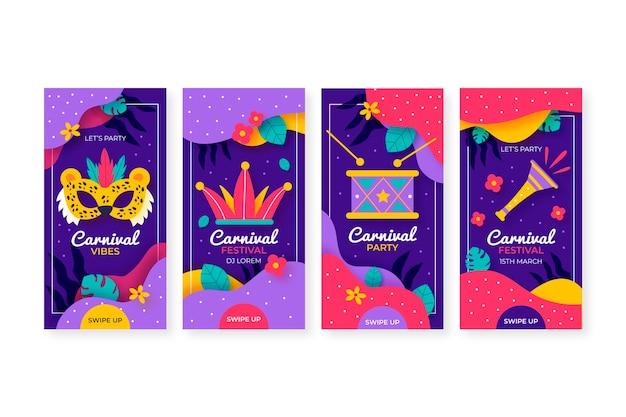 Máscaras e instrumentos musicais carnaval instagram stories collection Vetor grátis