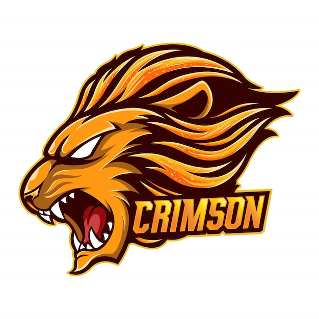 Mascot logo lion carmesim Vetor Premium