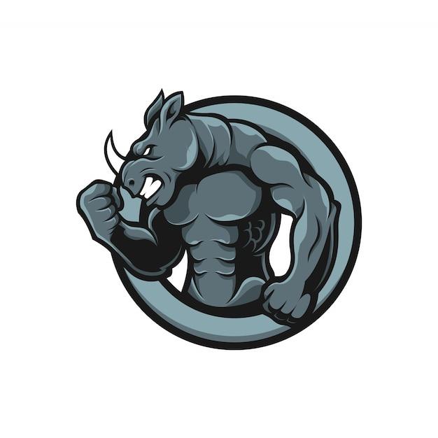 Mascot logo rinoceronte músculo humano Vetor Premium