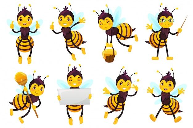 Mascote de abelha dos desenhos animados. abelha bonita, abelhas voadoras e mascotes de personagem de abelha amarela engraçada feliz conjunto de ilustração vetorial Vetor Premium