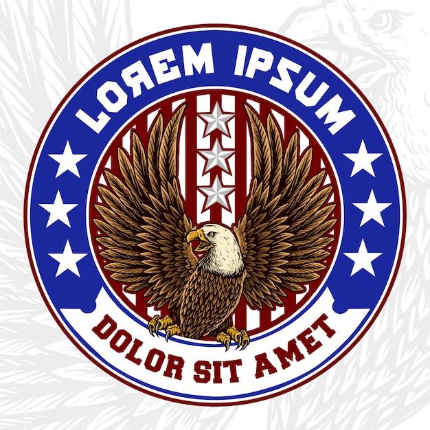 Mascote de águia com emblema da bandeira americana Vetor Premium