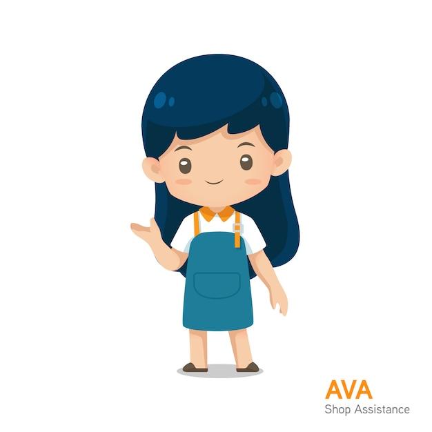 Mascote de assistência de loja de bonito dos desenhos animados no uniforme de avental na apresentação de uso de ação para ilustração Vetor Premium
