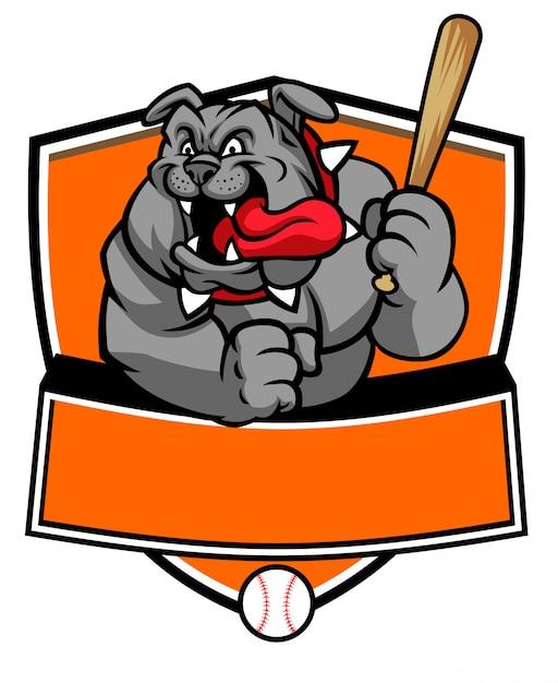 Mascote de beisebol de buldogue segurar o taco de beisebol Vetor Premium