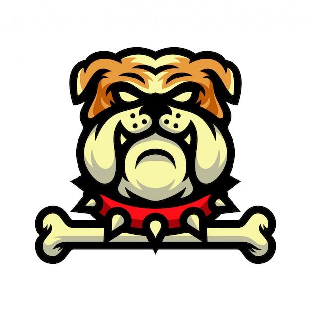 Mascote de buldogue com ilustração em vetor logotipo osso Vetor Premium