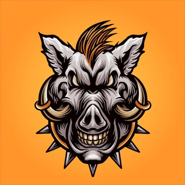 Mascote de cabeça de javali Vetor Premium