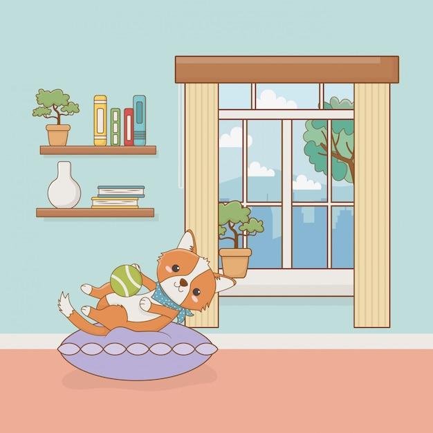 Mascote de cachorro pequeno no quarto da casa Vetor Premium