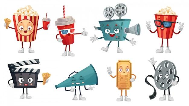 Mascote de cinema dos desenhos animados. pipoca em copos, câmera de filme de filme engraçado e cinemas bilhetes conjunto de ilustração de personagens Vetor Premium