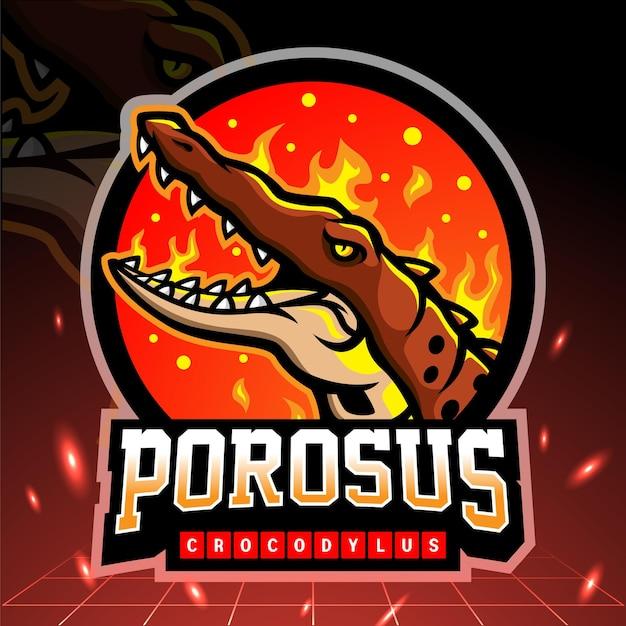 Mascote de crocodylus porosus. design do logotipo esport Vetor Premium