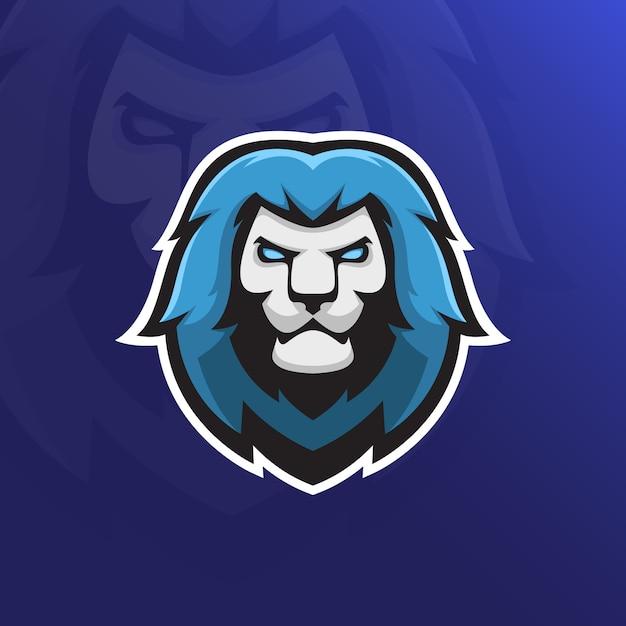 Mascote de esporte de cabeça de leão Vetor Premium
