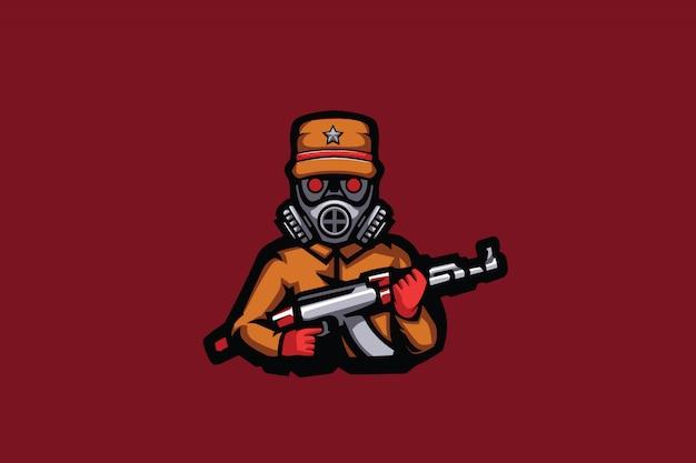 Mascote de esporte masked soldier Vetor Premium