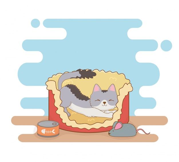 Mascote de gato pequeno bonito na cama com lata de atum e mouse Vetor Premium