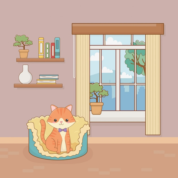 Mascote de gato pequeno no quarto da casa Vetor Premium