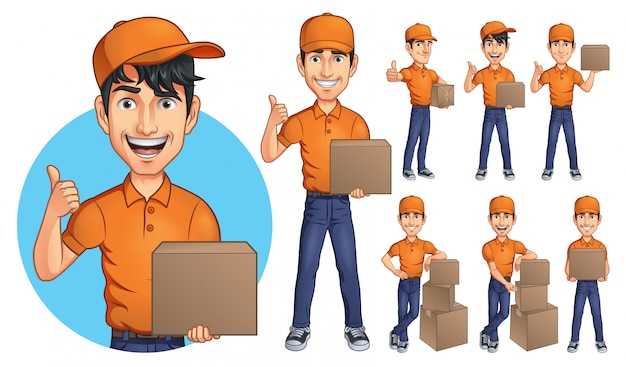 Mascote de homem jovem de correio dos desenhos animados Vetor Premium