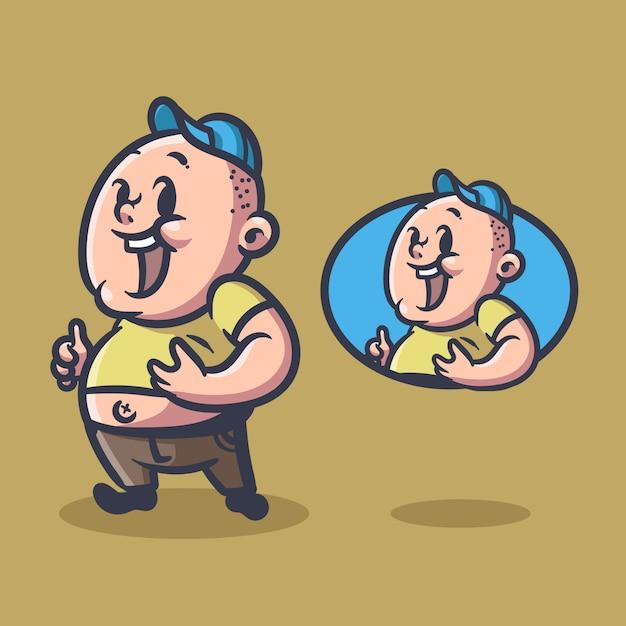 Mascote de ilustração de homem gordo Vetor Premium