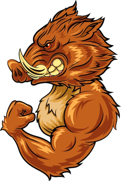 mascote de javali com raiva dos desenhos animados baixar vetores