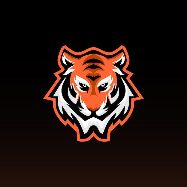 Mascote de jogos de cabeça de tigre. tigre e logotipo dos esportes. estilo moderno Vetor Premium