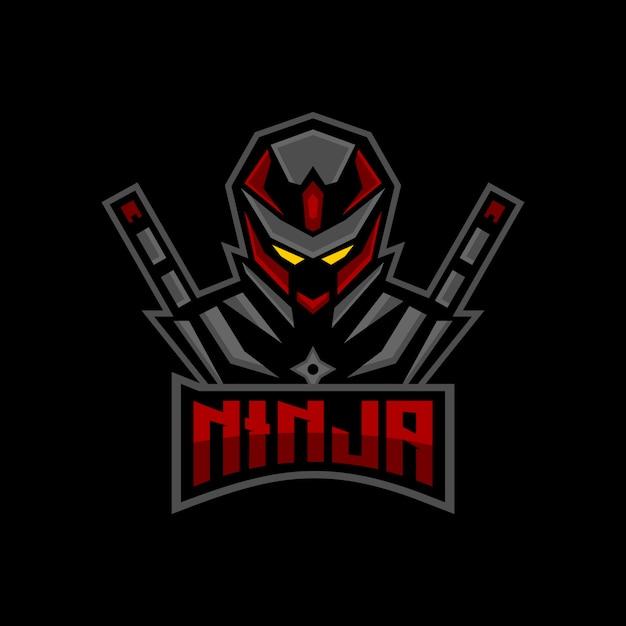 Mascote de jogos ninja esports logo Vetor Premium