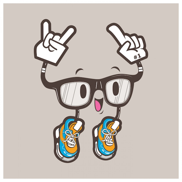 Mascote de óculos nerd legal Vetor Premium