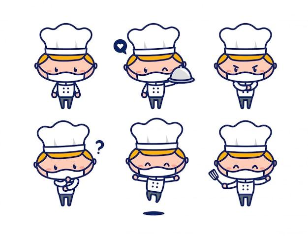 Mascote de personagem de chef masculino bonito conjunto usar máscara facial novo normal Vetor Premium