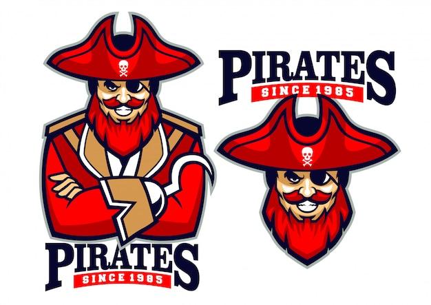 Mascote de pirata meio corpo Vetor Premium