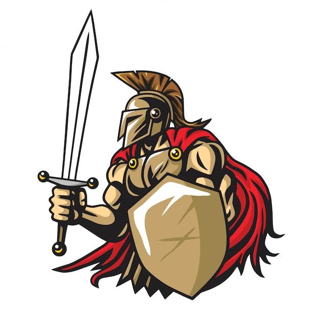 Mascote de vetor de guerreiro espartano Vetor Premium