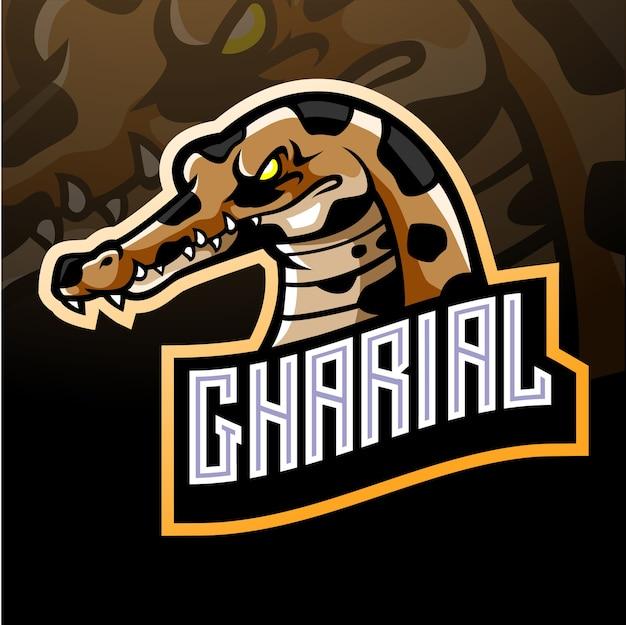 Mascote do crocodilo gharial. logotipo esport Vetor Premium