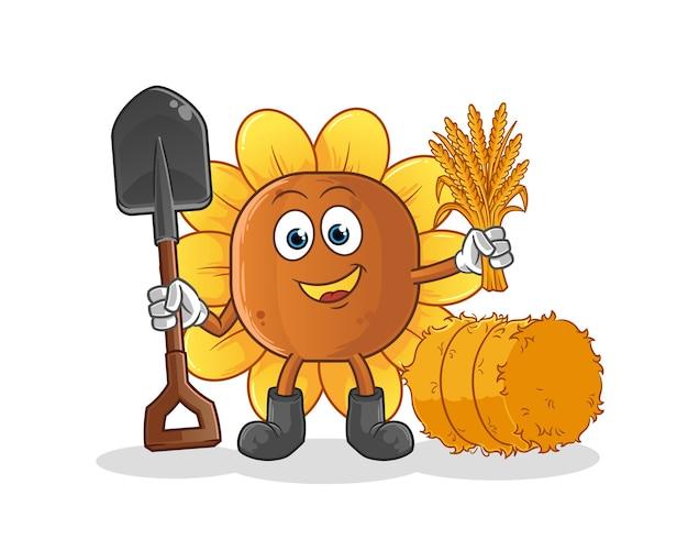Mascote do fazendeiro de flores do sol Vetor Premium