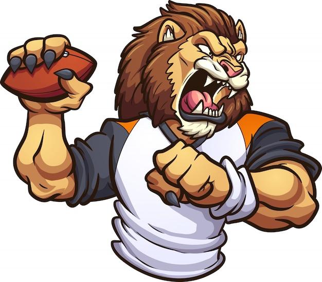 Mascote do leão com bola de futebol Vetor Premium