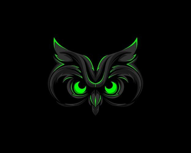 Mascote do logotipo da coruja verde escura Vetor Premium