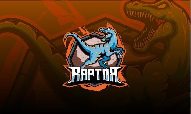 Mascote do logotipo do velociraptor, dinossauro. logotipo da raptor esport Vetor Premium