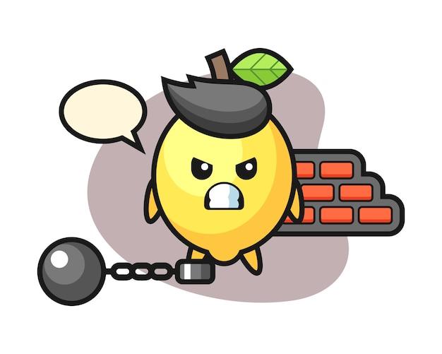 Mascote do personagem de limão como prisioneiro Vetor Premium