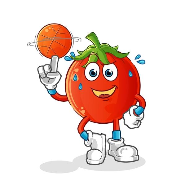 Mascote do tomate jogando basquete Vetor Premium