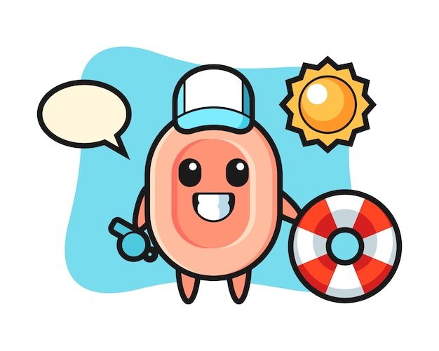 Mascote dos desenhos animados de sabão como guarda de praia, estilo bonito para camiseta, adesivo, elemento do logotipo Vetor Premium