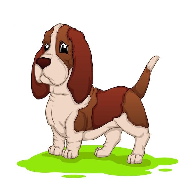 Mascote dos desenhos animados do cão de cão Vetor Premium