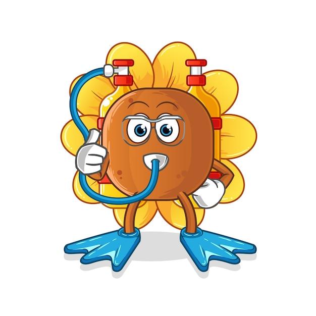 Mascote dos mergulhadores de flores do sol Vetor Premium